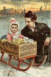 Trade card for the B.T. Babbitt soap company showing child in a soap box sled. Created in 19th century.