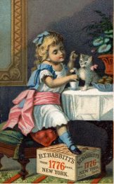 Trade card for the B.T. Babbitt soap company showing a child, cat, and soap box. Created in 19th century.