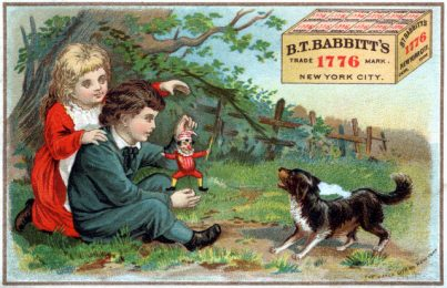 Trade card for the B.T. Babbitt soap company showing children, puppet, and dog. Created in 19th century.