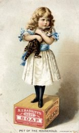 """""""Pet of the Household"""" trade card for the B.T. Babbitt soap company showing child and cat on a soap box. Created in 19th century."""