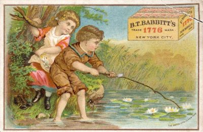 Trade card for the B.T. Babbitt soap company showing two children at a pond. Created in 19th century.