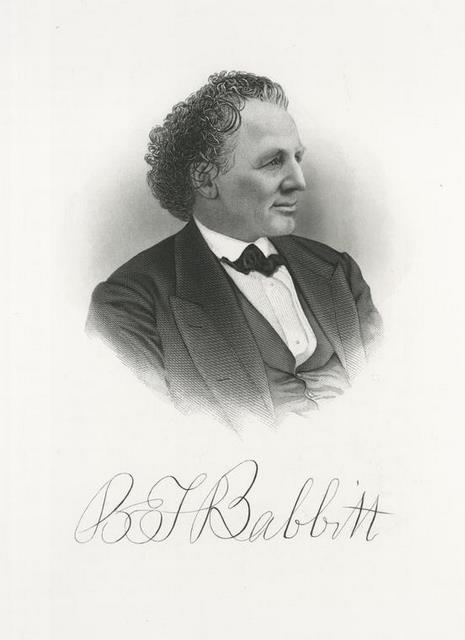 """Portrait of B.T. Babbitt, circa 1876. From the book """"Industrial America; or, manufacturers and inventors of the United States."""", 1876. Via NYPL"""