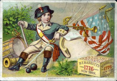 B.T. Babbitt Soap trade card with boy in Revolutionary Era costume, flag, and soap box. Created in the 19th century.