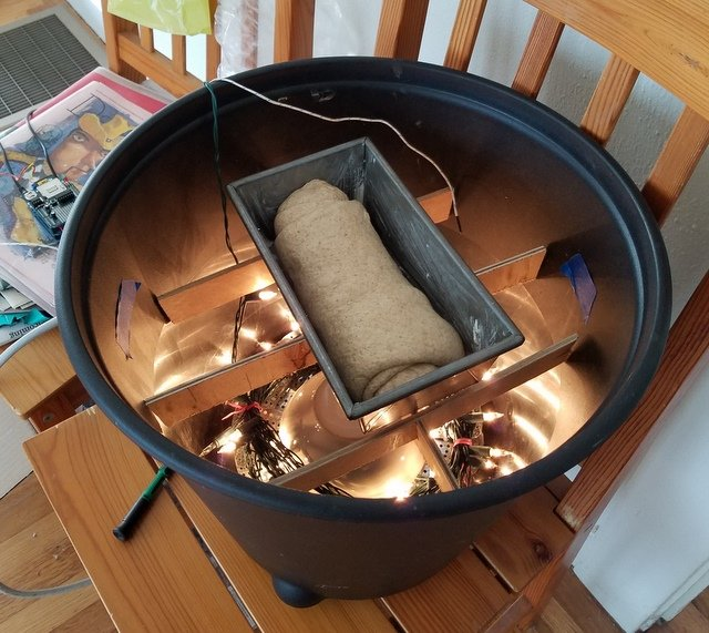 Photograph of homemade proofing chamber for bread dough with lid removed