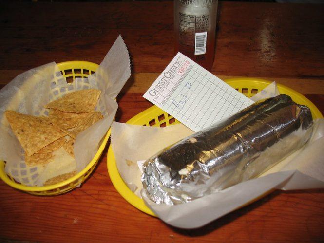 Photo of burrito and chips in Taqueria Cancun, San Francisco