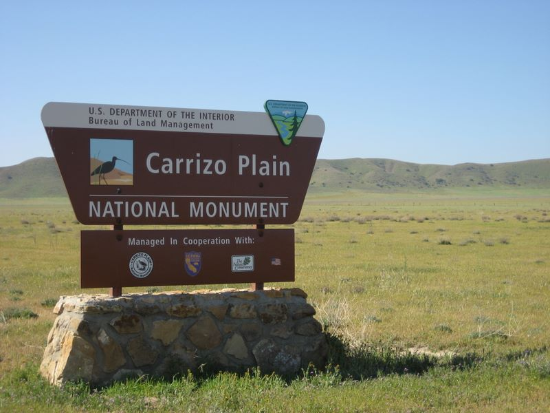 Entry sign at the Carrizo Plain National Monument