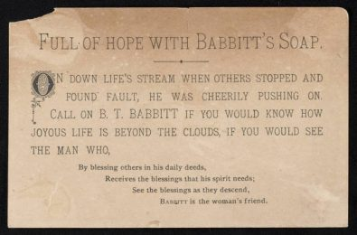 B T Babbitt Soap trade card from the late 1800s. The reverse of the card showing a child, cat on table, and soap box