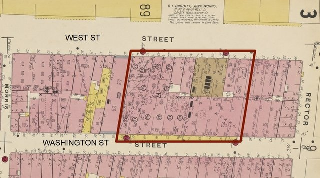 Babbitt's soap works on modified map of Manhattan bounded by Rector, Broadway, Battery, West, in Insurance Maps of NY, Sanborn Map Co, from NYPL