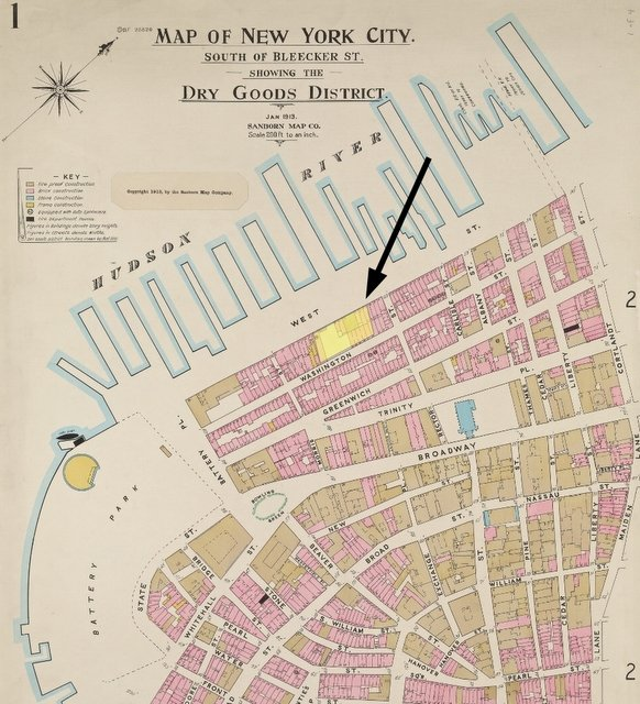 Detail of map of Lower Manhattan in 1913 from NYPL, with Babbitt Soap Works highlighted