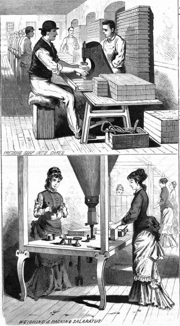 Engraving of workers pressing soap, packing salaratus at Babbitt Soap Works. From Scientific American, Nov 29, 1879