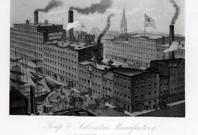 Image of a soap and saleratus factory for the B.T. Babbitt company. From Industrial America or manufacturers and inventors of the United States, 1876. Via-NYPL