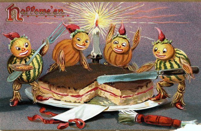 Halloween postcard, circa 1908, showing four pumpkin creatures cutting a cake and celebrating. From Huron County Museum's Flick Commons collection
