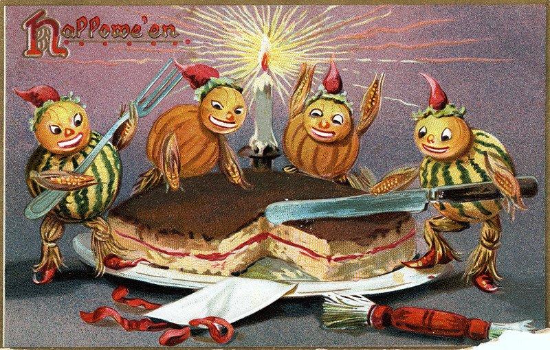 Halloween postcard, circa 1908, showing four pumpkin creatures cutting a cake and celebrating